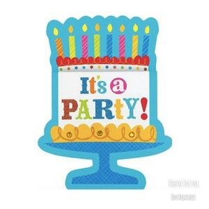 Other - New Its A Party Birthday Cake Invitations Pk Of 8
